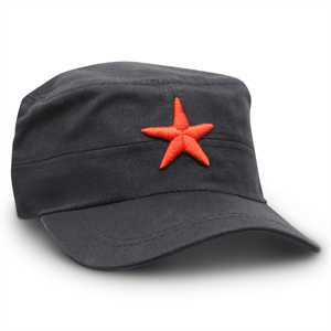 RED STAR HAT - BLACK